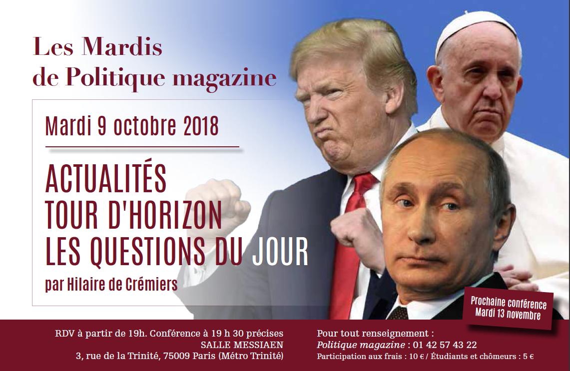 Tour d'horizon de l'actualité par Hilaire de Crémiers