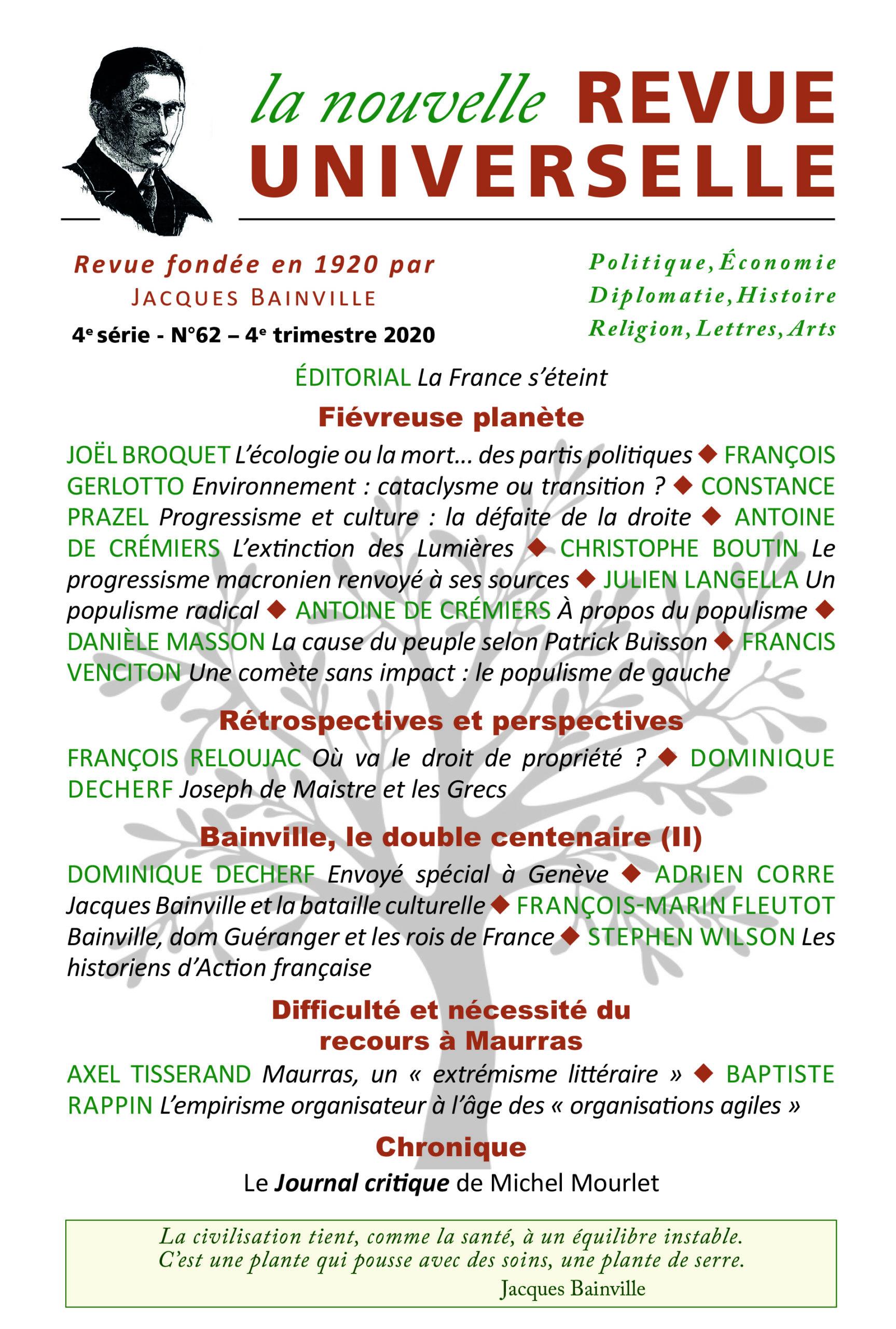 Couverture La Nouvelle Revue Universelle - Sommaire du numéro 62